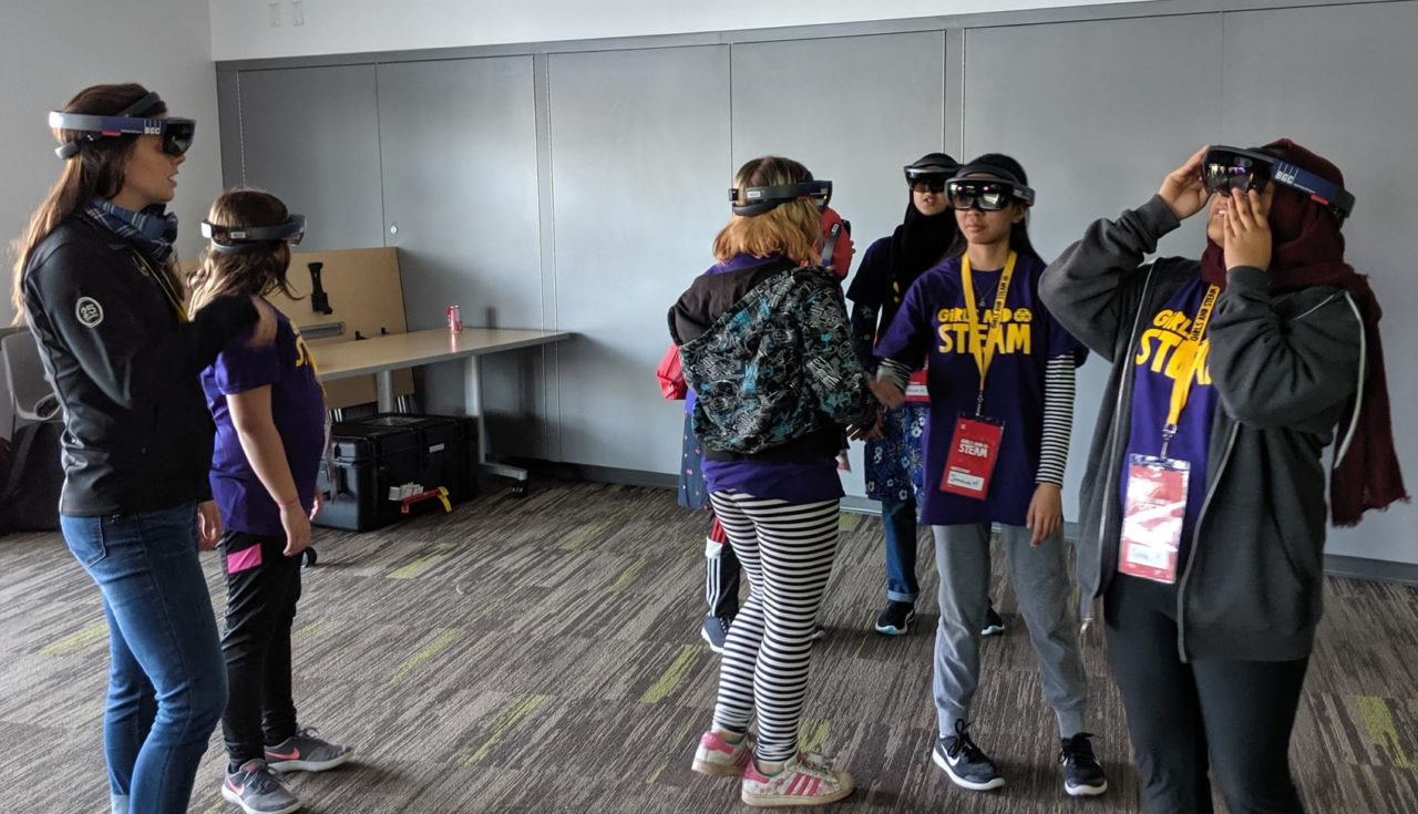 Girls in STEAM event at Telus World of Science using Microsoft Hololens